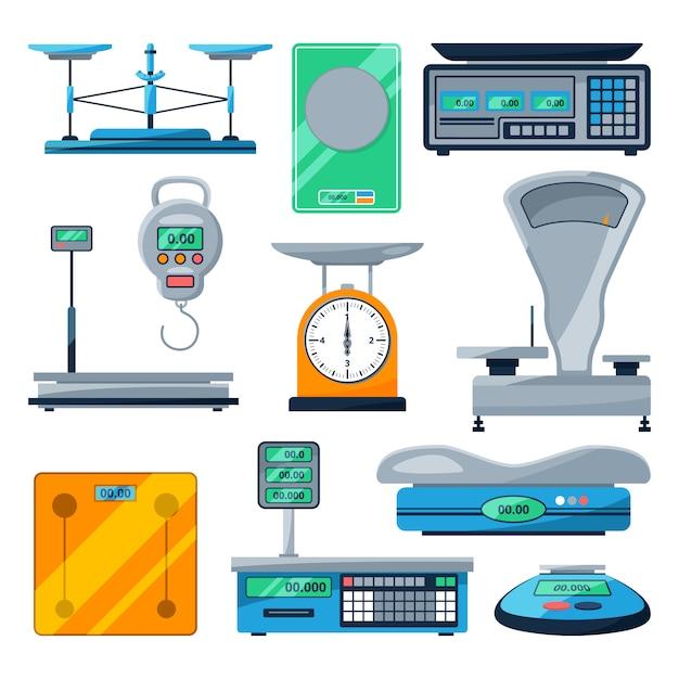 Vector set van verschillende soorten schalen Premium Vector