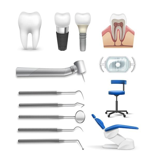 Vector set van verschillende tandheelkundige objecten tools, lamp stoel, boor, tand implantaat en structuur geïsoleerd op een witte achtergrond Gratis Vector