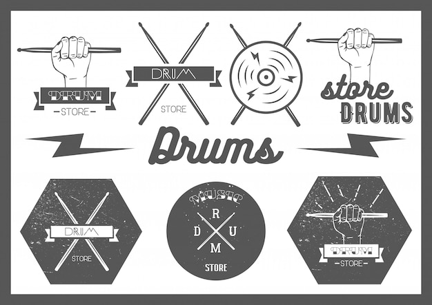Vector set van vintage stijl drumt labels Premium Vector