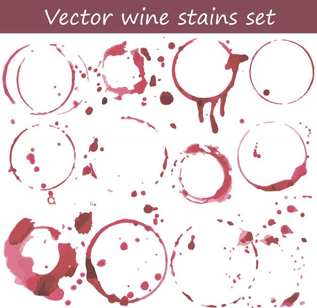 Vector set van wijnvlekken Premium Vector