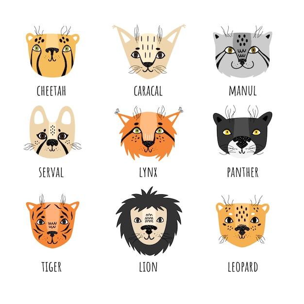Vector set van wilde katten in scandinavische stijl Premium Vector