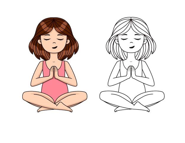 Vector set van yoga asanas. het leuke meisje mediteert in yogatraining. kleurrijk en overzichtstekening van positie yoga training Premium Vector