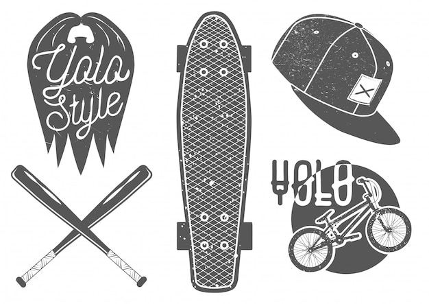 Vector set vintage sport etiketten en logo Premium Vector