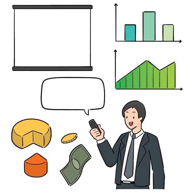 Vector set zakenman en zakelijke pictogram Premium Vector