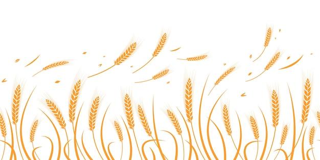 Vector silhouet van tarwe. silhouet. tarwe in het veld op een witte achtergrond. Premium Vector
