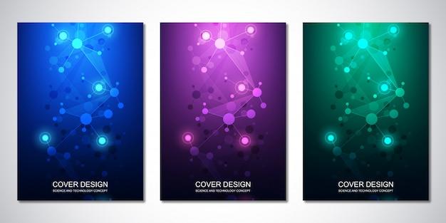 Vector sjabloon voor dekking of brochure, met moleculen achtergrond en neuraal netwerk Premium Vector