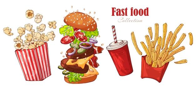 Vector snel voedsel: hamburger, frieten, popcorn, drank. Premium Vector