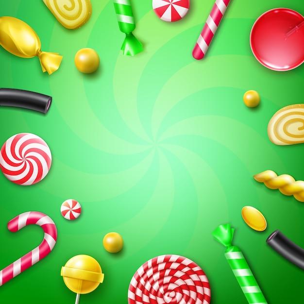 Vector snoep plat lag met verschillende snoepjes in rood, geel gestreepte folie wrappers, swirl lollies, xmas suikerriet en copyspace bovenaanzicht op groene achtergrond Gratis Vector