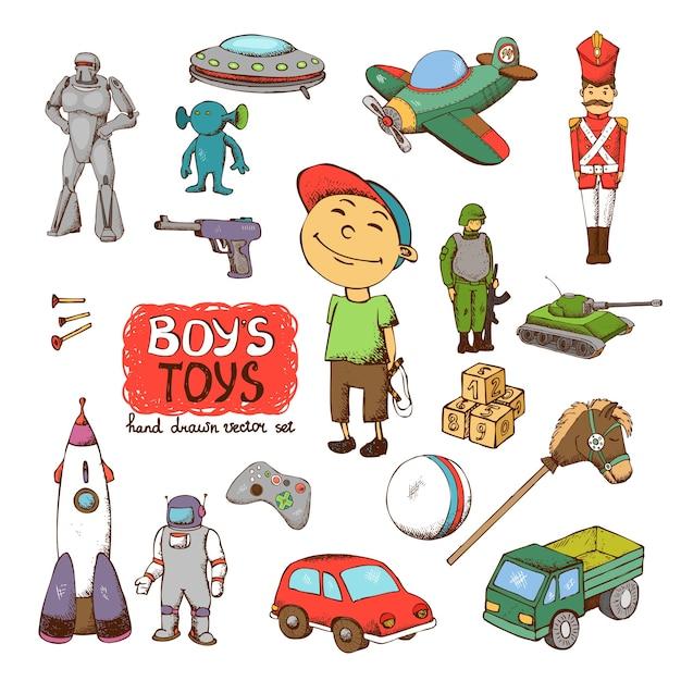 Vector speelgoed voor jongen: raket kanon drum ufo soldaat robot tank Gratis Vector