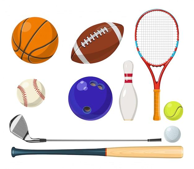 Vector sportuitrusting in cartoon stijl. ballen, rackets, golfsticks en andere vectorillustraties Premium Vector