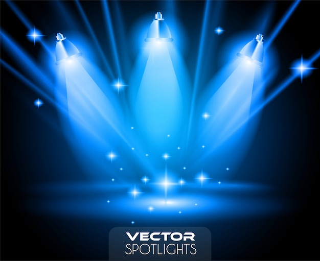 Vector spotlights-scène met verschillende lichtbronnen die naar de vloer of plank wijzen. Premium Vector