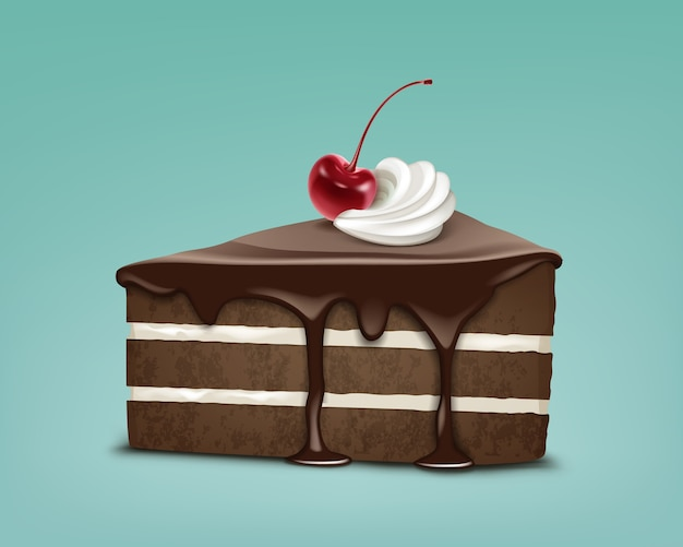 Vector stuk chocolade bladerdeeg cake met suikerglazuur, slagroom en marasquinkers geïsoleerd op blauwe achtergrond Gratis Vector