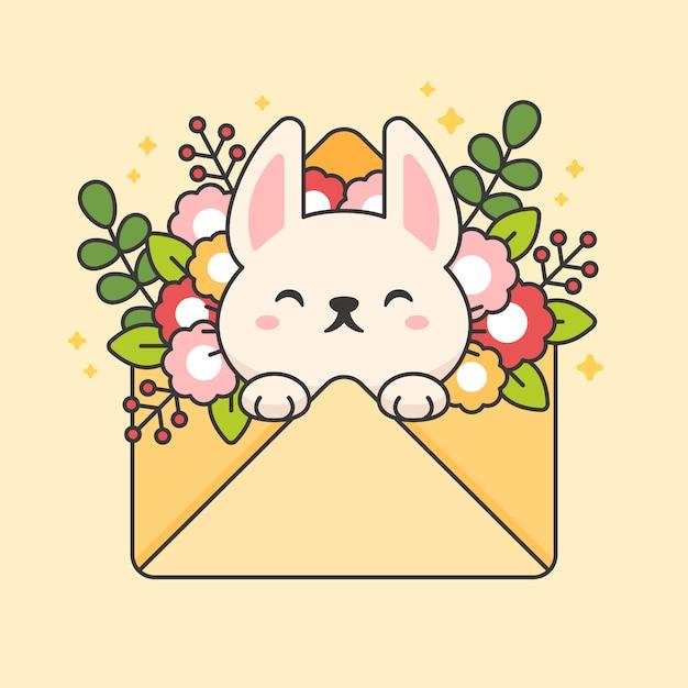Vector teken van schattige konijn in een envelop met bloemen en bladeren. eps Premium Vector