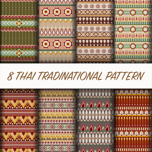 Vector thaise stijlgeklets Premium Vector