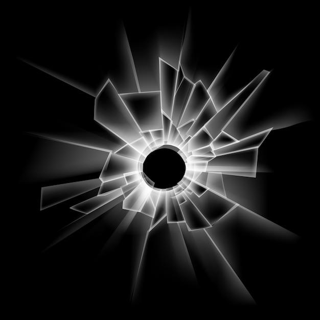 Vector transparant gebroken glas raam met kogelgat op donker zwart Premium Vector