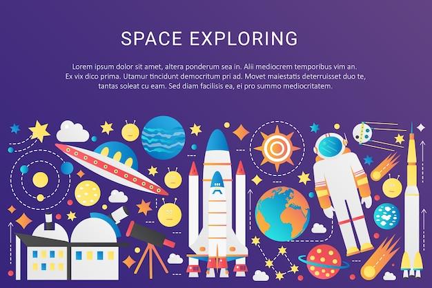 Vector trendy platte kleurovergang ruimte universum infographic elementen collectie met zon, planeten, ster ruimteschepen, ufo aliens, astronaut, asteroïden illustratie Premium Vector