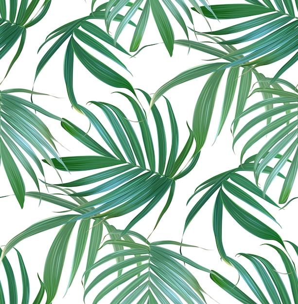 Vector tropisch palmbladen naadloos patroon. Premium Vector