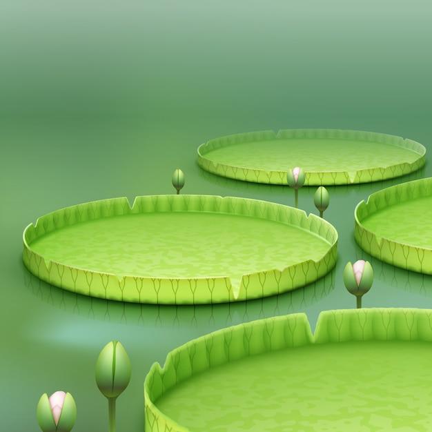Vector tropische plant giant amazon water lily pad of enorme drijvende lotus victoria amazonica op groene achtergrond wazig Gratis Vector