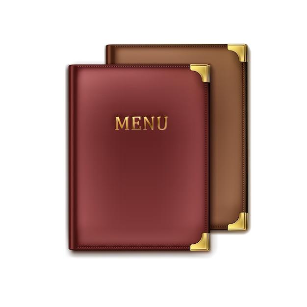 Vector twee bruine, vineuse café menu boekhouders bovenaanzicht geïsoleerd op een witte achtergrond Gratis Vector