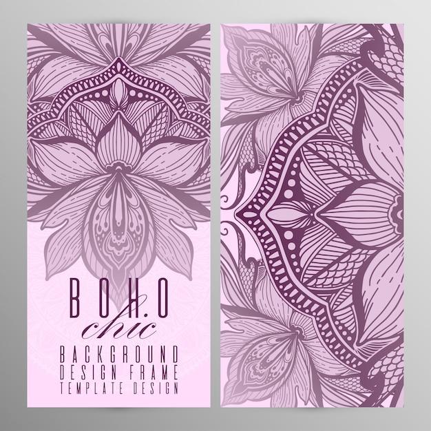 Vector uitstekende mandala lotus kaart set roze kleur. Premium Vector