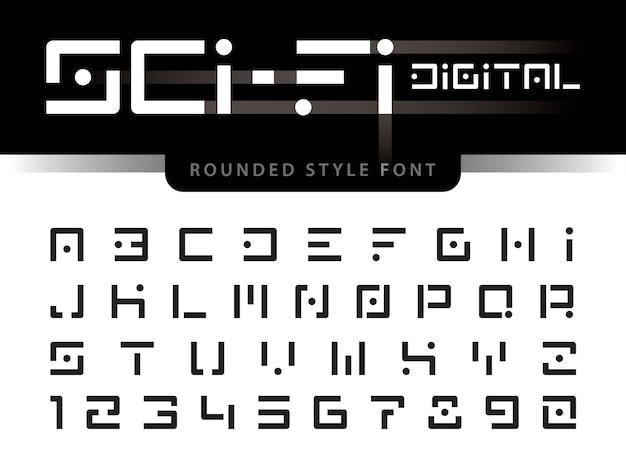 Vector van futuristische alfabetletters en cijfers Premium Vector