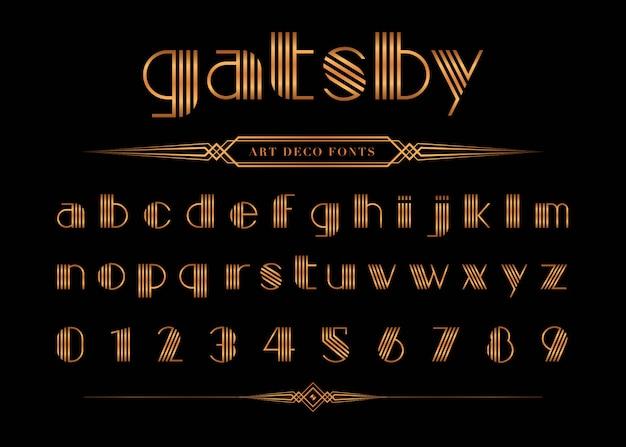 Vector van gatsby lettertype en nummer Premium Vector
