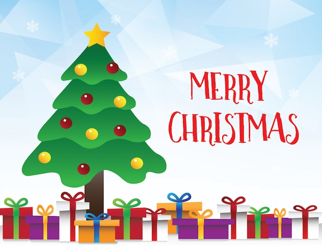 Vector van geometrische blauwe achtergrond met kerstboom Premium Vector
