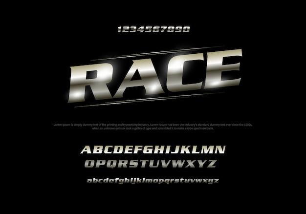 Vector van gestileerde moderne lettertype en alfabet. racetypografie Premium Vector