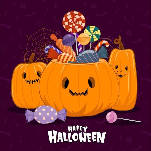 Vector van halloween pictogrammen met pompoenen en veelkleurige snoepjes Gratis Vector