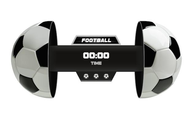 Vector van het scorebord van de voetbalbal dat op wit wordt geïsoleerd Premium Vector
