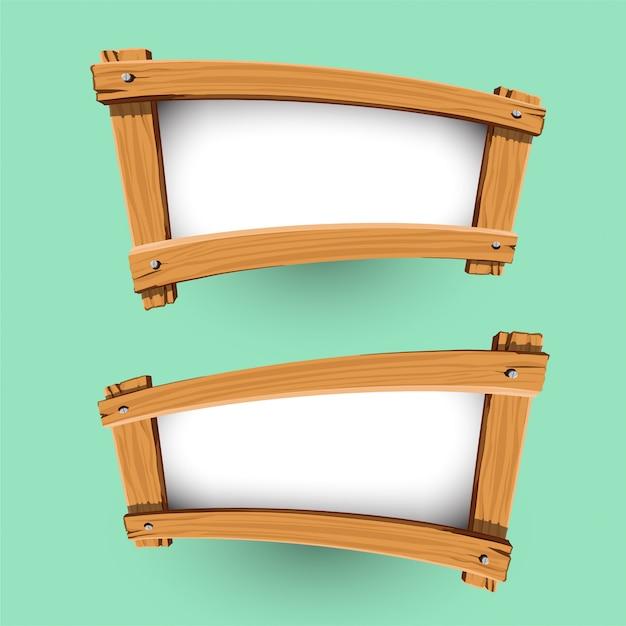Vector van houten bannerontwerp Premium Vector