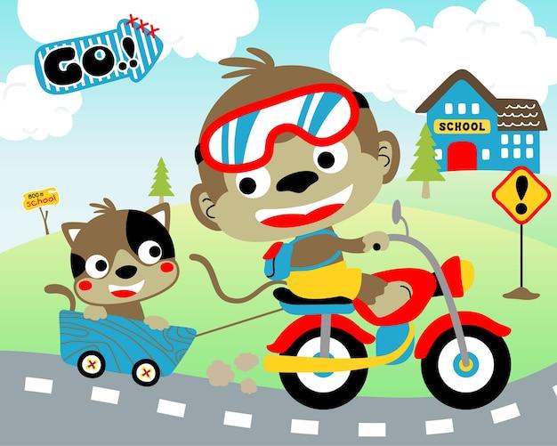 Vector van leuke reizen met grappige dieren op de motor Premium Vector