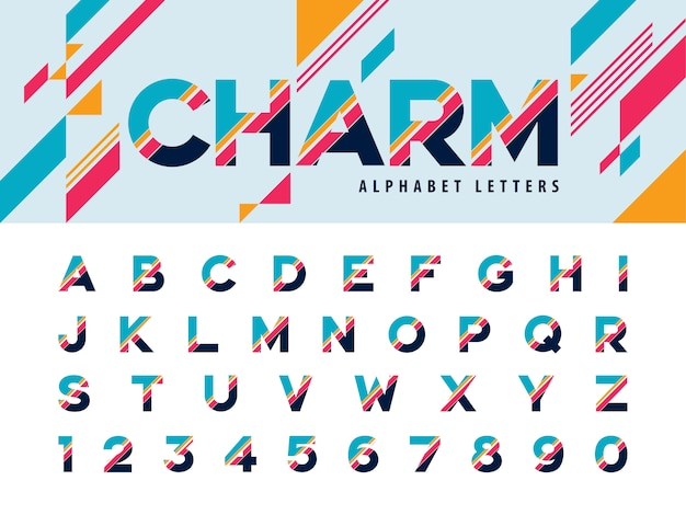 Vector van moderne alfabetletters en nummer Premium Vector