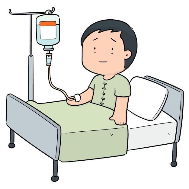 Vector van patiënt met behulp van infusiemiddelen Premium Vector