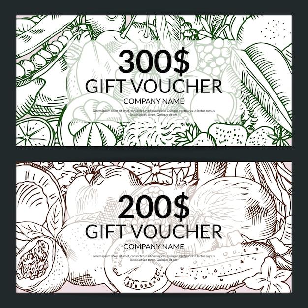 Vector vegan handdrawn verse groenten en fruit winkelen voucher sjablonen. geschenkbon set illustratie Premium Vector