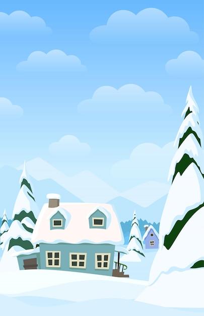 Vector verticaal landschap met de winterdorp Premium Vector