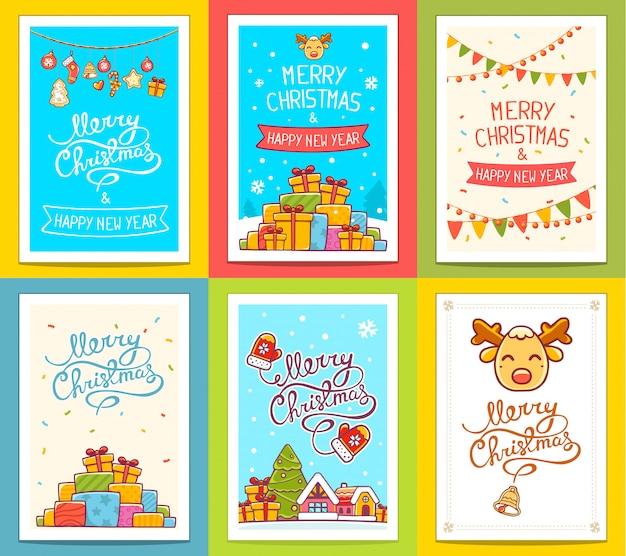 Vector verzameling kerst sjablonen met handgeschreven tekst op lichte achtergrond. Premium Vector