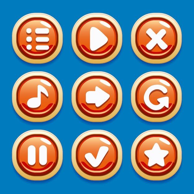 Vector verzameling knoppen voor gaming-interfaces voor mobiele games Premium Vector
