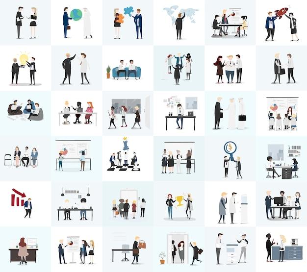 Vector verzameling van mensen uit het bedrijfsleven Gratis Vector
