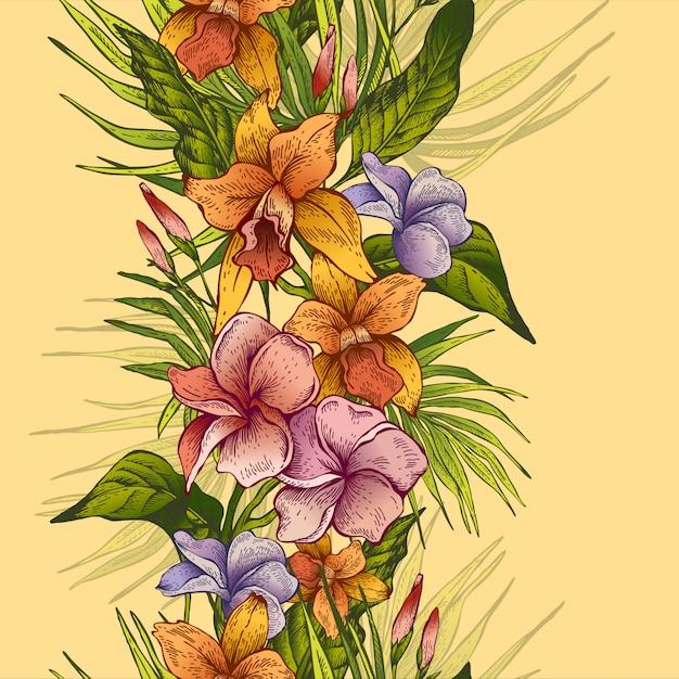 Vector vintage bloemen tropisch naadloos patroon Premium Vector