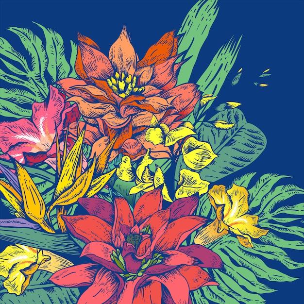 Vector vintage floral tropische wenskaart Premium Vector
