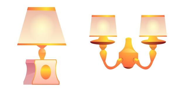 Vector vintage wand- en tafellampen met lampenkap Gratis Vector