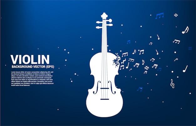 Vector viool met muziek melodie nota dansen stroom. tekstsjabloon Premium Vector