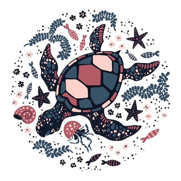 Vector vlakke hand getrokken schildpad omgeven door zeeplanten en dieren. Premium Vector