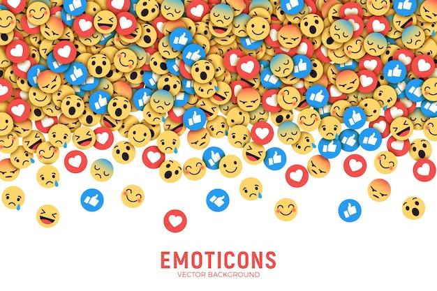 Vector vlakke moderne facebook-emoticons conceptuele abstracte kunstillustratie Premium Vector