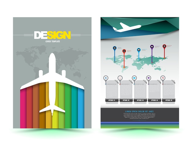 Vector vliegtuig brochure sjabloonontwerp Premium Vector