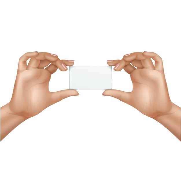 Vector vrouwelijke handen met lege kaart geïsoleerd op een witte achtergrond Premium Vector