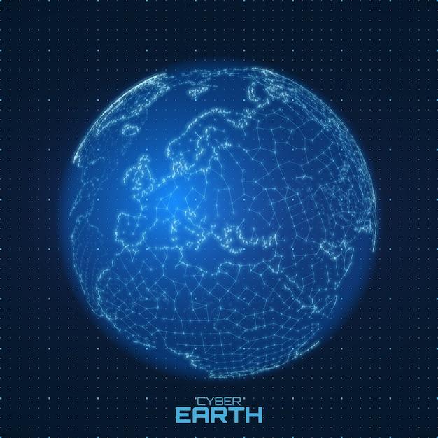 Vector wereldkaart opgebouwd uit cijfers en lijnen. abstracte wereld verbindingen illustratie. futurisrische sferische kaart. europa gecentreerd. technologische planeet concept. internationale datacommunicatie Gratis Vector
