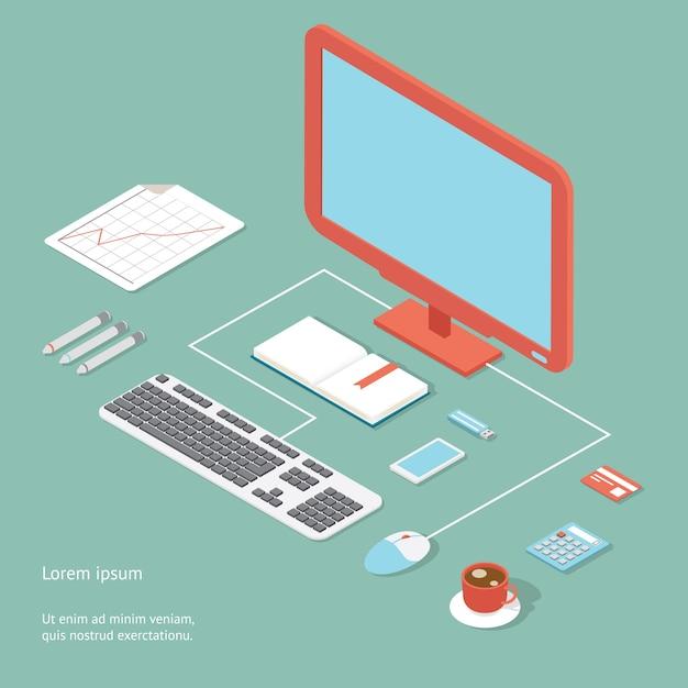 Vector werkplek in vlakke stijl met een bureau met een desktopcomputer bedraad toetsenbord en muis calculator koffie bankkaart en pennen met een analytische grafiek Gratis Vector