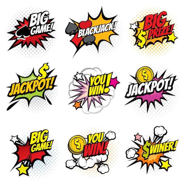 Vector winnende game bubble stickers in retro popart komische stijl Premium Vector